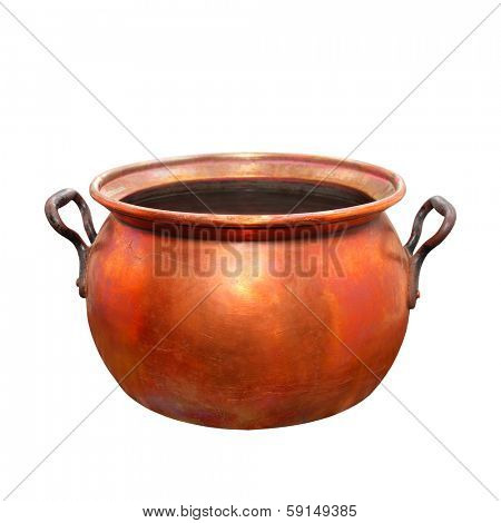 Empty bronze pot. Traditional handmade product of European Gypsies (kettlesmith craft) from 19th century.
