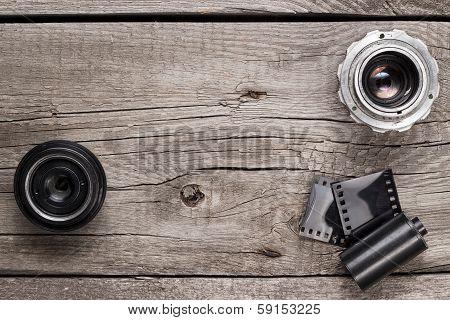 retro camera lenses and negative film