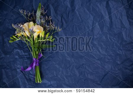 Flowers And Blue Wrapping Paper