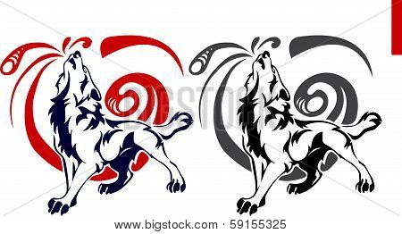 Tribal wolf howling at the moon tattoo on white background