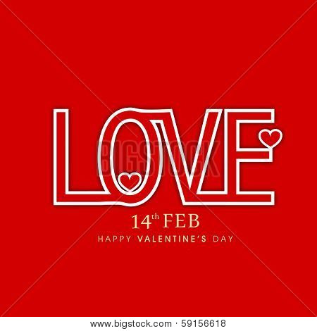 Happy Valentines Day celebration poster, banner or flyer with stylish text Love on bright red background.