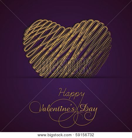 Happy Valentines Day concept with golden heart shape on purple background.