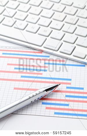 Project plan gantt charts with computer keyboard