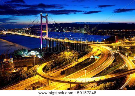 Hong Kong highway system and bridge at night