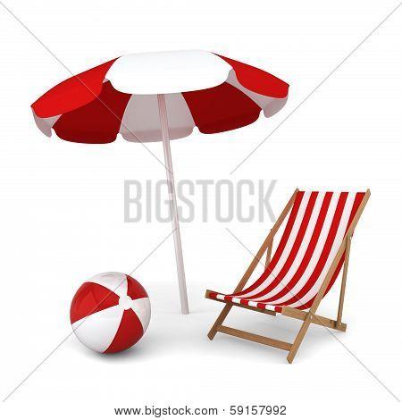 Beach Umbrella, Chair And Ball