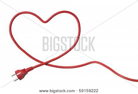 Heartshaped Power Cable isolated on white background