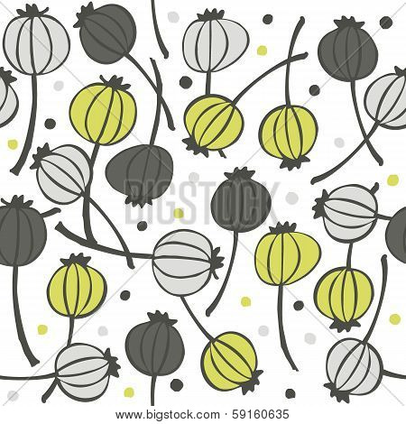 green gray messy poppy seed fruit pattern with seeds seamless pattern