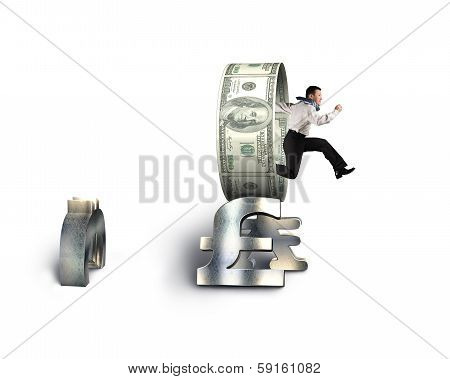 Businessman Jumping Through Circle On Stack Of Money Symbols