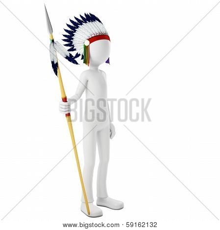 3D Man Native Indian Warrior With Spear