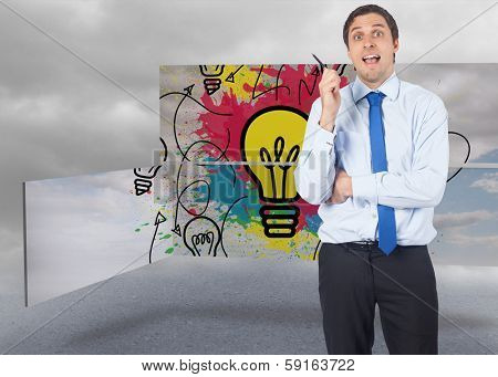 Thinking businessman holding pen against cloudy dull sky