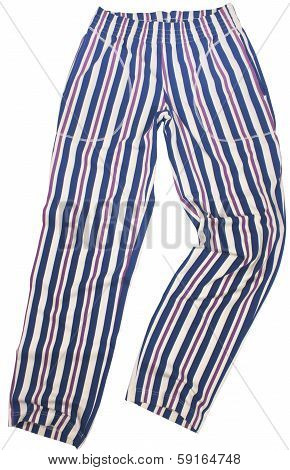 Striped pijama sweatpants isolated on white