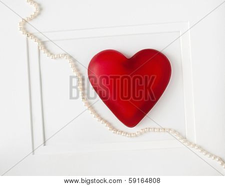 Red Heart with String of Pearls
