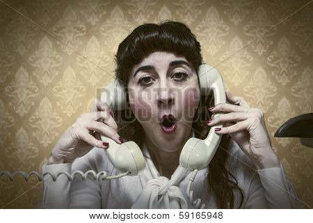 young Secretary screams by phone busy vintage