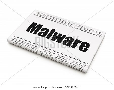 Protection concept: newspaper headline Malware