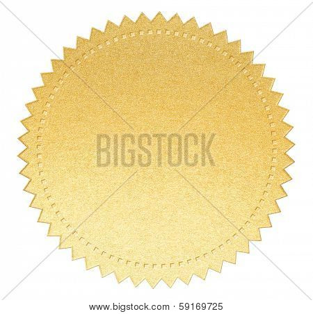 gold paper seal label with clipping path included