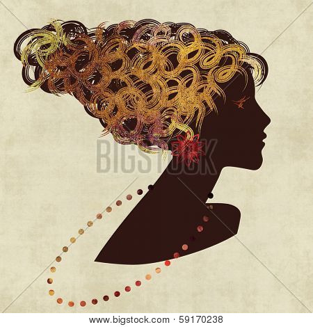 art dark silhouette profile of beautiful girl with golden curly hair and bijou on sepia background