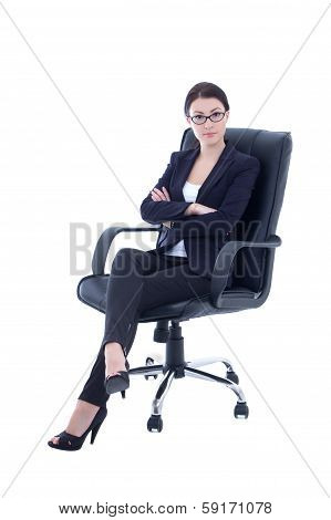 Young Beautiful Business Woman Sitting On The Chair Isolated On White