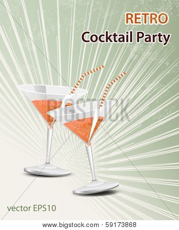 Retro party poster - vintage cocktail glass