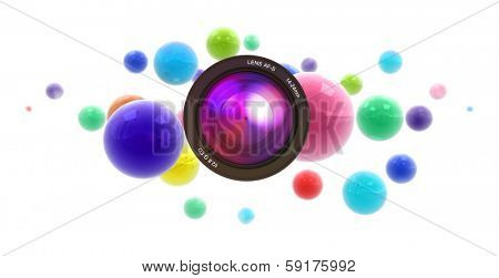 3D rendering of multicolored shinny spheres floating in midair