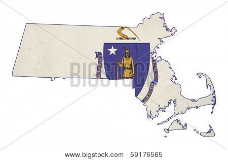 Grunge state of Massachusetts flag map isolated on a white background, U.S.A.
