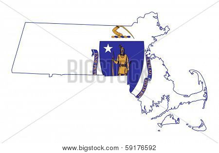 State of Massachusetts flag map isolated on a white background, U.S.A.