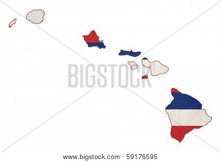 State of Hawaii flag map isolated on a white background, U.S.A.  illustration; graphical