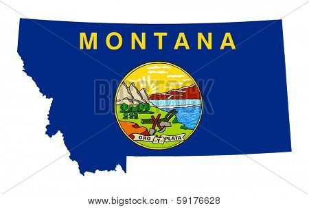 State of Montana flag map isolated on a white background, U.S.A.