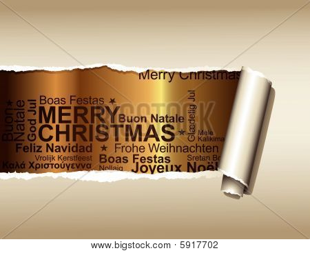 ripped paper over gold with christmas text