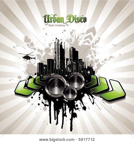 Grungy städtische Musik illustration