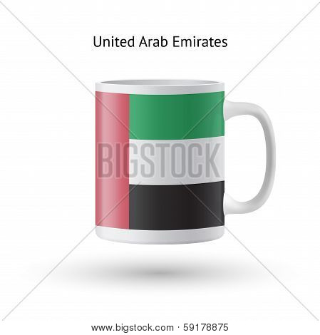 United Arab Emirates flag souvenir mug on white background.