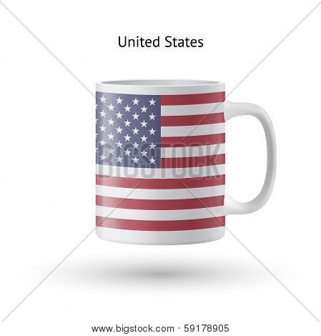 United States flag souvenir mug on white background.