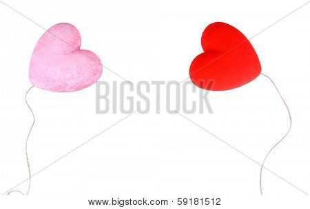 Two decorative hearts, isolated on white