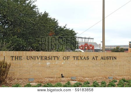 Sign For The University Of Texas At Austin And Stadium