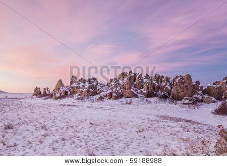 Natural Fort, historical and geological landmark at dawn, northern Colorado near Carr