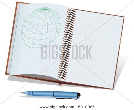 Blue ball-point pen and notebook