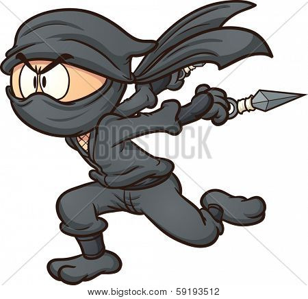 Cartoon ninja running. Vector clip art illustration with simple gradients. All in a single layer.