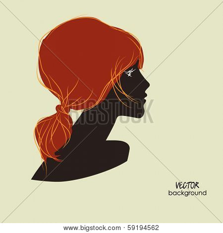 art dark silhouette profile of beautiful girl with red ponytail hair on sepia background, in vector