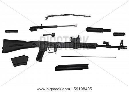 Assault Rifle Disassembled Into Parts Left Side View Isolated On White