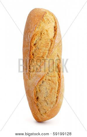 demi baguette or bread roll on a white background