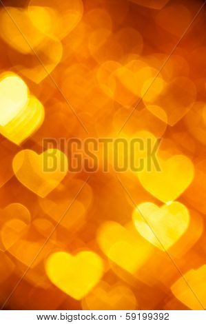 golden  heart shape holiday background