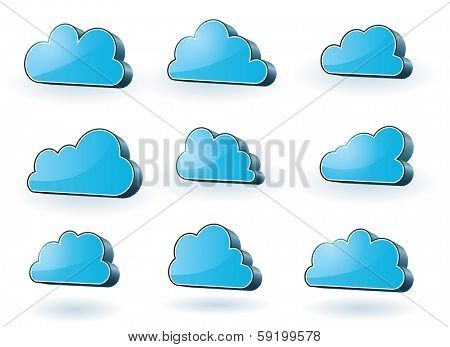 Collection of nine 3d glassy surface clouds