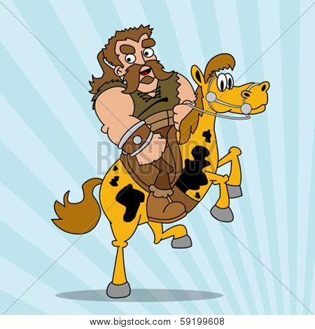 cartoon illustration of barbarian riding a horse