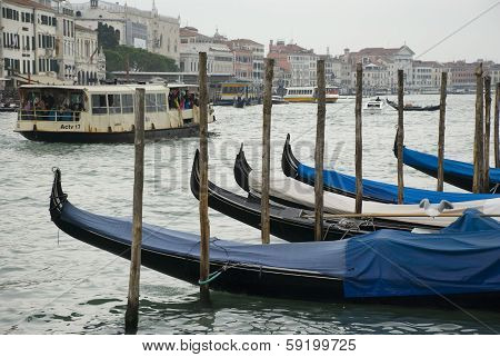 gondolas of venice on a rainy day