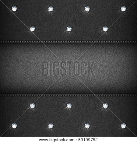 Luxury black leather background with diamonds - eps10
