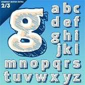 Sketch alphabet. Vector illustration of hand drawing font. Compact. Lowercase letters