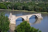 foto of avignon  - The Saint Benezet bridge on Rhone river in Avignon Provence France - JPG