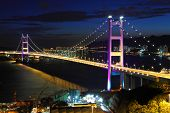 image of tsing ma bridge  - Tsing Ma Bridge in Hong Kong at night - JPG