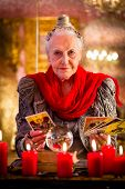 stock photo of occult  - Female Fortuneteller or esoteric Oracle - JPG