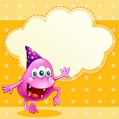 pic of beanie hat  - Illustration of a beanie monster with a purple hat celebrating - JPG