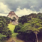 foto of yucatan  - Mayan pyramid in Uxmal - JPG